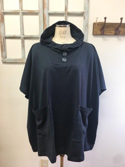 人気再販×3 NEWバージョン  男女兼用❤️カットソー素材のポンチョ風五分袖パーカー(ネイビー紺)男女フリー L〜LL