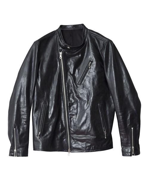 Leather Stand Collar Semi-W Riders Jacket Black