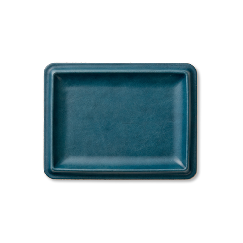 colm Leather Tray L Blue