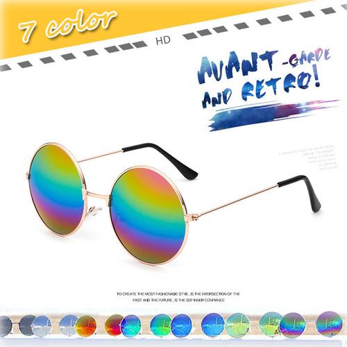 送料無料 サングラス 丸型 ラウンド ミラーサングラス めがね グラサン 夏 リゾート 海