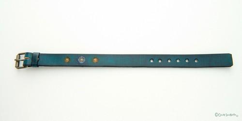 木版染革ベルト青緑丸M