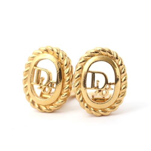 Christian Dior/クリスチャン・ディオール CDロゴエッジロープカッティングデザインイヤリング ゴールド(50072)