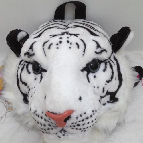 【やや小さめ】タイガーリュック トラ顏リュック 虎バッグ タイガーバッグ アニマルバッグ アニマルリュック インテリア  猛虎 ホワイト ブラウン