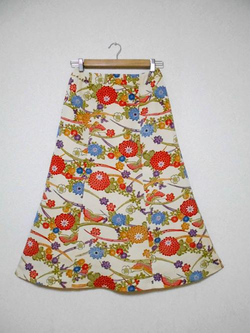 レトロ小紋の着物スカート Kimono Skirt  WS-003/S