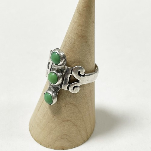 Vintage 925 Silver  Green Turquoise Ring Made In Mexico