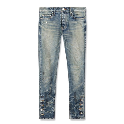 MLVINCE  Type-1 Slim Damaged Jeans WASHED INDIGO