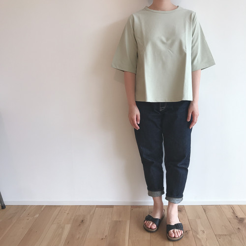 niuhans  Dry Touched Cotton Inlay Half-sleeve Flare Tee