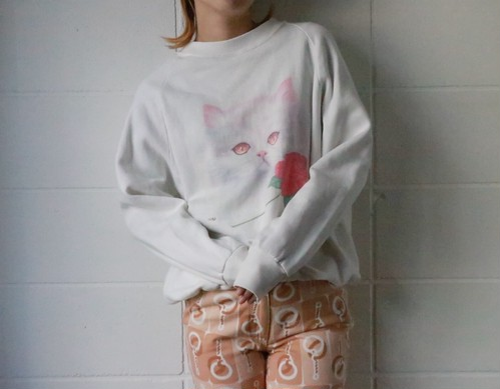 vtg cat print sweat shirts