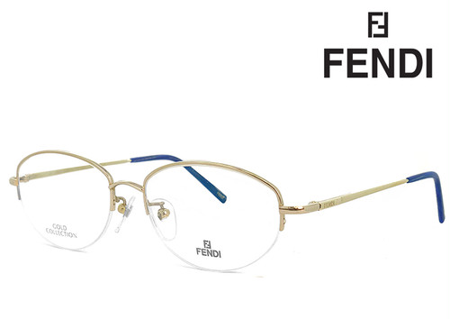フェンディ 眼鏡 (メガネ) FENDI vl7417 550 14金 ホワイトゴールド メタル ナイロール ハーフフレーム フレーム メンズ