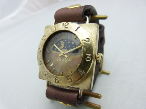 "手作り時計 Hand Craft Watch ""CUBE-JB6-S&M""  JUMBO Brassスクエア Sun&Moon [JUM140S&M BR]"
