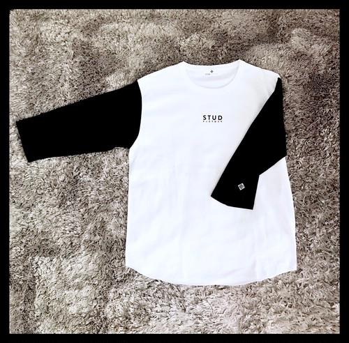heavy weight 3/4sleeve T-shirt(WHITE/BLACK)