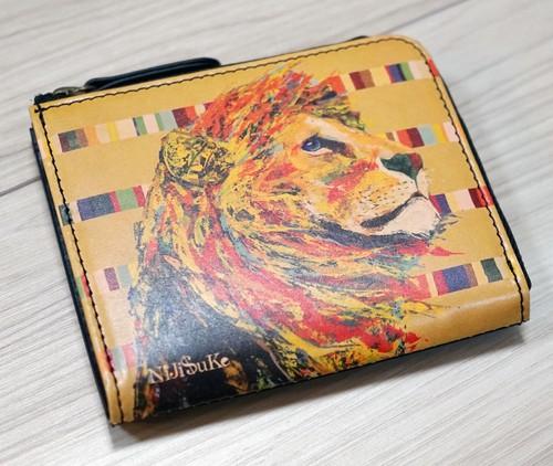 本革ファスナー財布  [ ライオン StripeBorder ]nijisuke