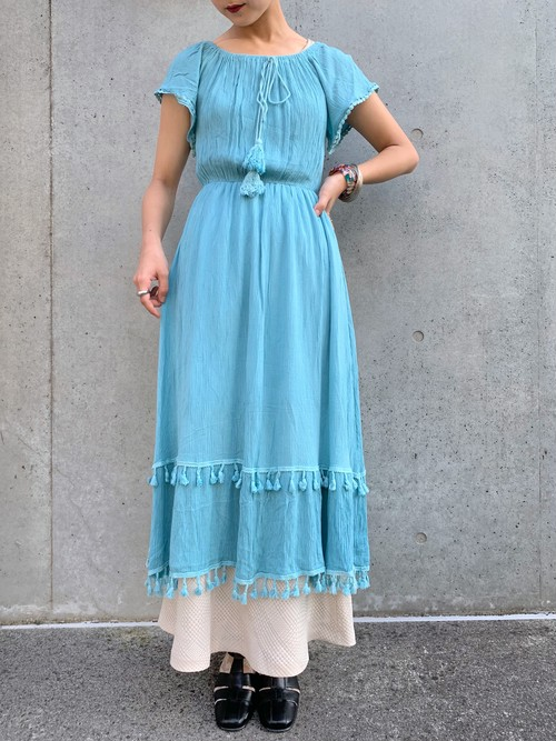 (TOYO) crinkle s/s long one-piece