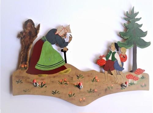 メルヘンキーフック 壁掛板絵 ヘンゼルとグレーテル