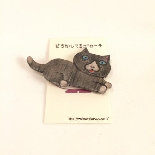 【どうかしてるダイン】木製ブローチ 黒化け猫