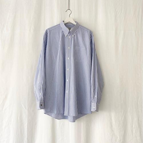 HERMES check button down shirt blue