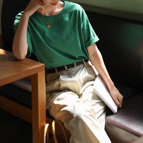 4色/コットンルーズクルーネックTシャツ ・2070