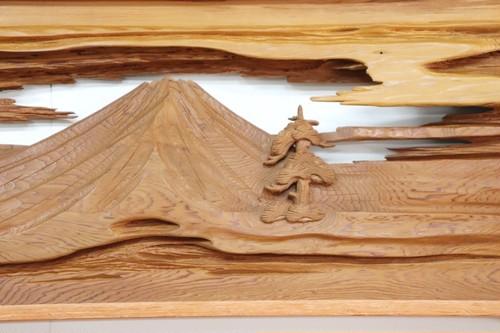 天然欄間【富士山】御山杉
