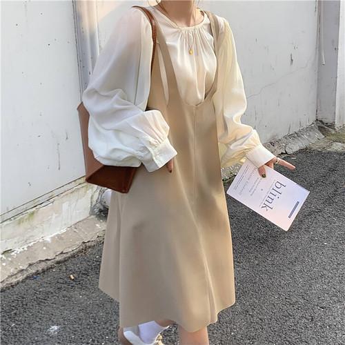 フェイクレザージャンパースカートセット1011-201008010set