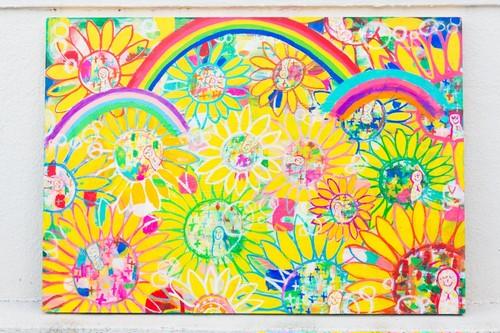 【原画】PRAY PLAY PRAY -祈り 遊び 祈る ( B2 wood board,B2サイズ木製パネル515× 728mm)