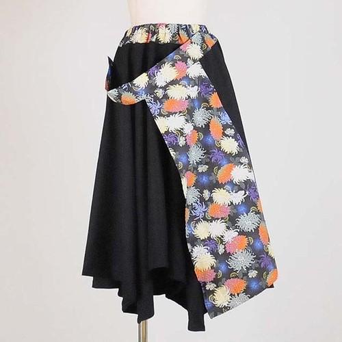 gouk 前和柄当て布付きフレアースカート  GGD26-S366 BK/M