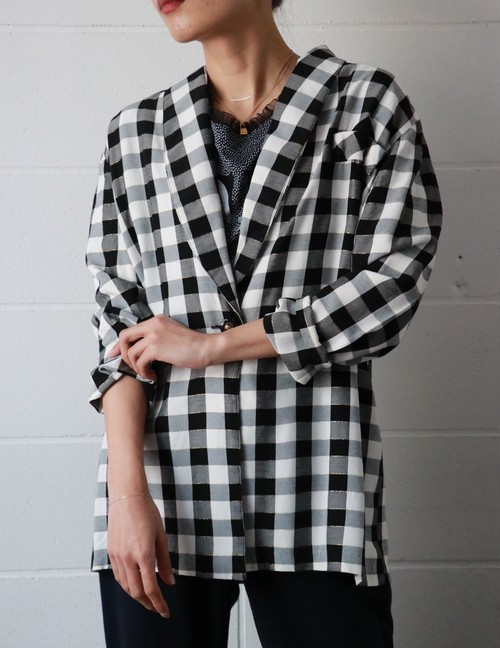 B&W lamé checked jacket