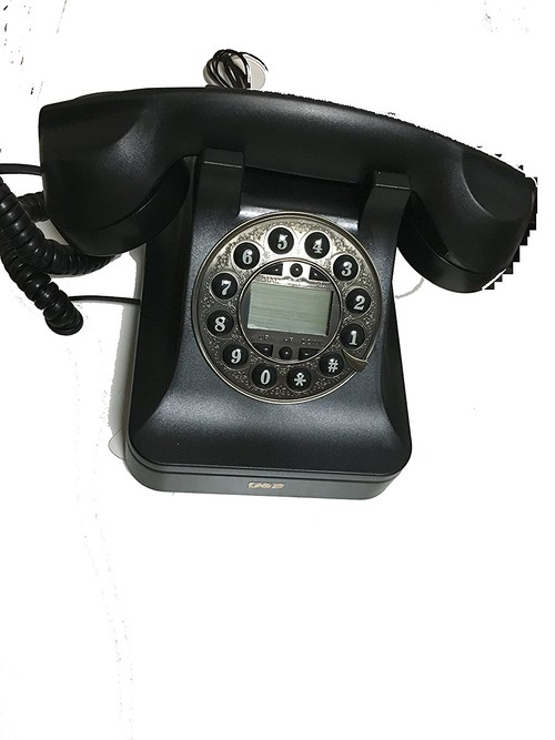 JUCK ナンバーディスプレイ付 ノスタルジック アイテム 懐かしの 黒電話風 オシャレな 電話機 ブラック