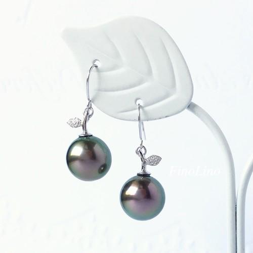 タヒチパール(黒蝶真珠) × K10WG 果実モチーフ ピアス
