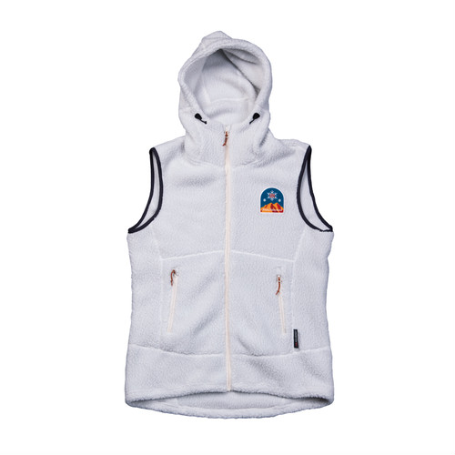 New!! UN3510 Boa fleece hoody vest / Whitegrey