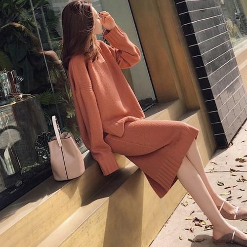 【セットアップ】フェミニンニットセーター/スリットスリムスカート2点ワンピースセット23365228