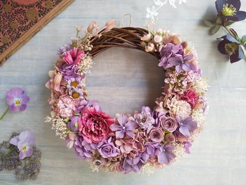 Jolie botanique<Incarnat>*ハーフムーンリース*プリザーブドフラワー*お花*ギフト*結婚祝い*新築祝い*お誕生日祝い*ウェディング*春の新作