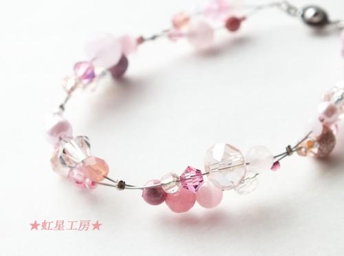 桜色☆50種ビーズのピンクブレスレット