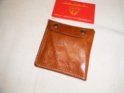 アウトレット品 2方向開閉 ミニ財布 ショートモデル オイルドレザー キャメル