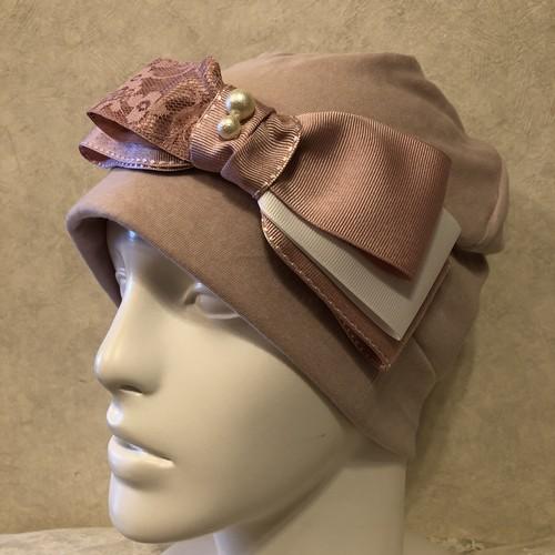 重ねリボンのケア帽子 ピンク