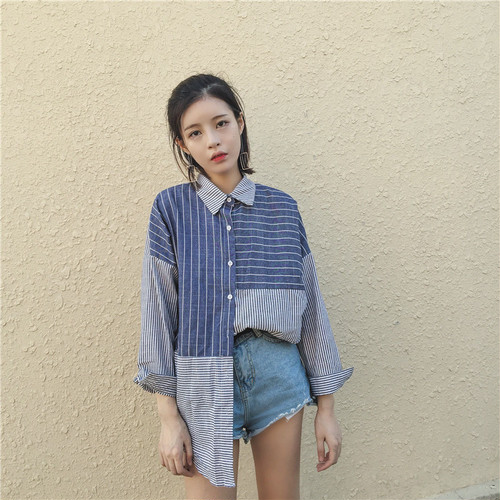 ♡retro  irregular striped shirts 2871