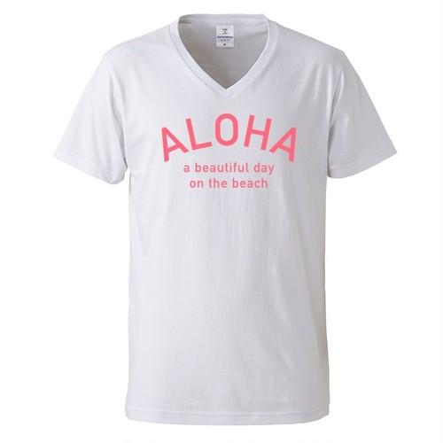 ALOHA Tee - White/Pink