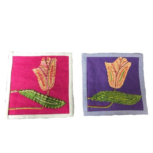 ベトナム 刺繍 コースター2枚セット ハンドメイド ベトナム雑貨