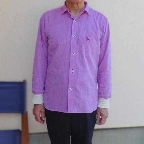 HOME ワークシャツ 綿麻シャンブレー