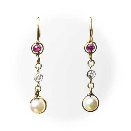 Antique Pearl Ruby Earrings