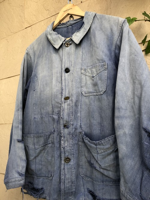 1940s-50s French blue cotton work jacket