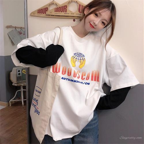 【トップス】アバンギャルド海外トレンドフェイクレイヤードカジュアル長袖Tシャツ