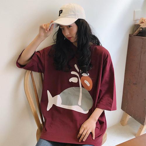 【トップス】韓国系カートゥーンプリントラウンドネック原宿Tシャツ26644094