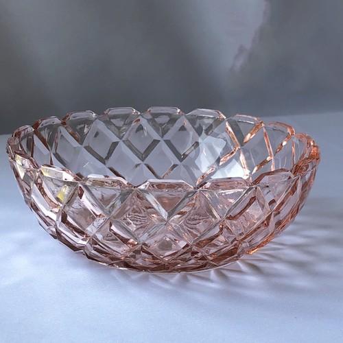 ディプレッションガラス ホッキング デザートボウル ピンク ファイヤーキング