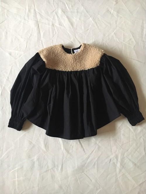 LLサイズ boa gather blouse ベージュboa×黒