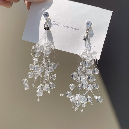 clear pearl shower pierce / earring