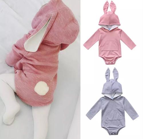 【送料無料】ふわふわ生地 うさ耳 ベビーロンパース ロンパース  ベビー服 フード シッポ ボンボン ピンク グレー 赤ちゃん 子供服 インポート