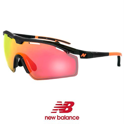 ニューバランス 度付き 対応 nb08086-c01 New Balance スポーツサングラス nb08086-001 シールド型 1枚レンズ 黒 ブラック