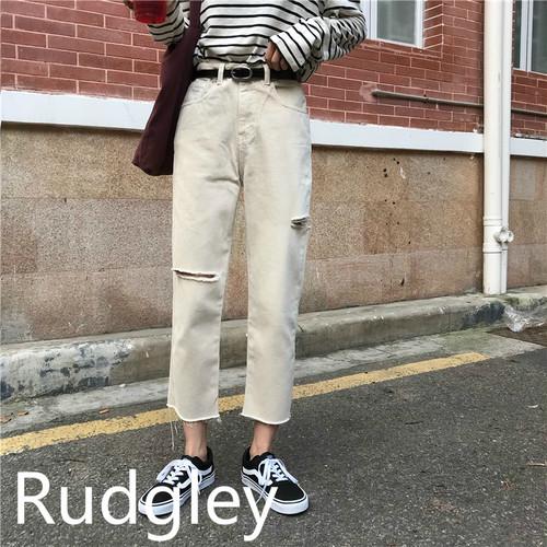 カジュアル  ダメージ コットンパンツ 韓国ファッション
