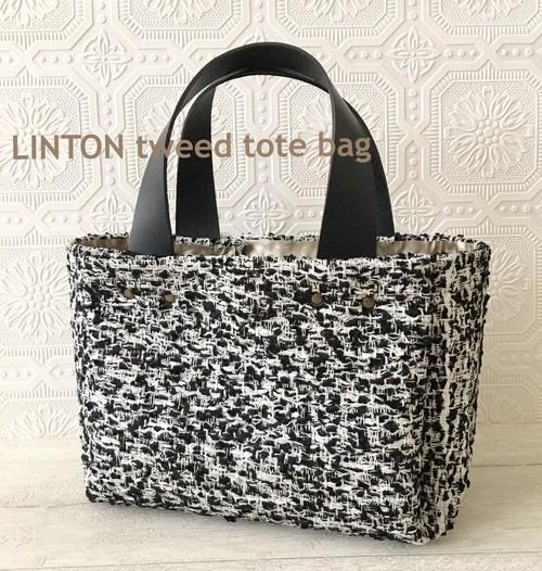 [送料無料]本革持手 LINTON社製 ツイードトートバッグ