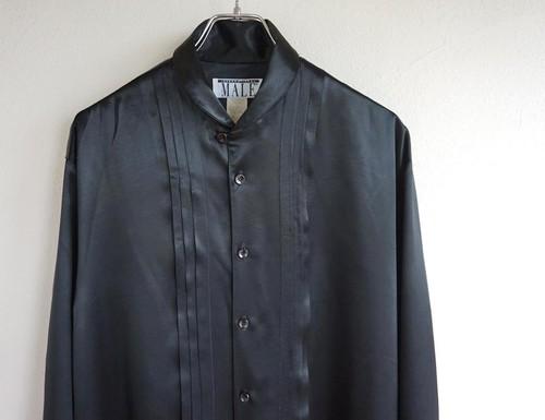 1980's USA製 [MALE] ショールカラー&ギャザー L/S サテンシャツ ブラック 実寸(M〜L位)